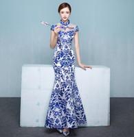 c664289f414da 2019 Women Lady Slim Cheongsam Maglie maniche corte QiPao Blue White Long  Retro Classic Banquet Ceremony Elegant Evening New