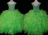 Cute Lime GreenToddler Girls Pageant Dresses Ball Gown Organza Ruffled Cap Princess Prom Gowns Little Girls Crystal Bead Flower Girls Dress