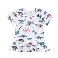 ingrosso vestiti di loto-Baby Girls Girls Dress Colorful Dinosaur Printing Lotus Leaf Skirt Kids Designer Abbigliamento Ragazze Bambini Princess Dress 48