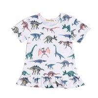 yaprak çocukları elbise toptan satış-Bebek Çocuk Kız Elbise Renkli Dinozor Baskı Lotus Yaprak Etek Çocuklar Tasarımcı Giysileri Kızlar Çocuk Prenses Elbise 48