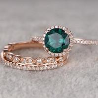 14 chapado en oro al por mayor-Diseñador de joyas anillos de solitario esmeralda 14 k anillos chapados en oro conjuntos de circonio para las mujeres de moda caliente libre de envío