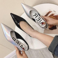 Wholesale black shoes low silver heels for sale - Group buy Goddess2019 Shallow Summer Mouth Letter Flat Bottom Single Shoe Back Air Coarse Low With Woman Shoes