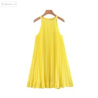шифон прямое платье оптовых-Женщины плиссированные платья желтый шифон мини платье сдвиг Холтер рукавов Cute Straight Vestidos Стильный Женский Qb567