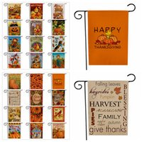 Wholesale pumpkin banner for sale - Group buy Thanksgiving Turkey Garden Flag Halloween Pumpkin Fall Autumn Welcome Double Side Print Hanging Banner Flags Party Decor cm FFA3135