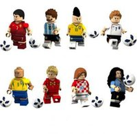 Wholesale Block - Football Team Doll Figures World Cup Football team Figures with baseplate Building Blocks assembled Toy Bricks Minifig GGA1564