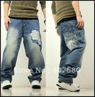 pantalon de danse homme achat en gros de-2016 mode hommes lâches hiphop street dancing pantalons coton denim jeans bleu clair skateboard plus la taille