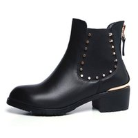 reißverschluss flache stiefel großhandel-Hot Sale-Taoffen Mode Frauen Echtes Leder Wohnungen Stiefel Runde Toe Rivet Zipper Elastic Ankle Boots Motorrad Schuhe Damen Größe 33-42
