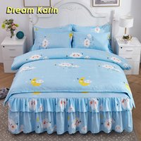 Wholesale purple floral sheets resale online - Dream Karin Brief Style Floral Soft Bed Skirt Polyester Sanding Sheet Thickened Quilt Dust Ruffle Home Textile