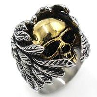 joyas de titanio hip hop al por mayor-Retro gótico punk hombres anillos de moda de titanio de acero cráneo lobo dragón anillos masculinos hip hop anillo joyería accesorios de halloween regalo