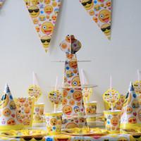 pacote de sorriso venda por atacado-149 pçs / lote Emoji Sorria Pacote Grito Crianças Aniversário Decoração Set Fontes Do Partido Tema Baby Party Pack de Aniversário
