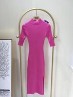 robes noires à manches courtes achat en gros de-Designer 2019 Prune / Noir Demi-Manches À Tricoter Robe Longue Milan Piste D'épaule Logo Long Pulls Femmes 82992