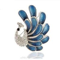 erstaunliche brosche großhandel-Vintage Style Silber erstaunliche dunkelblaue Emaille Corsage Pfau Brosche