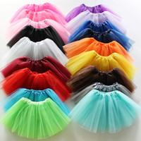 costumes de danse de gaze achat en gros de-Bébés filles Danse Tulle Tutu Jupe 17 couleurs Gaze Pettiskirt Enfants Enfants Dancewear Ballet Fancy Dress Costume Jupes jupe EEA1234