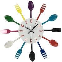 wanduhr gabel groihandel-Kreative Wanduhr Multicolor-Hauptdekoration Besteck, Küchenzubehör Löffel Gabel Clock Wanduhr Home Küche Dekor
