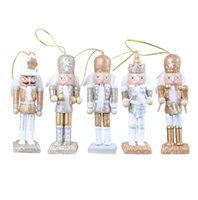 Wholesale christmas puppets resale online - 5 Pieces Set Nutcracker Puppet New CM Glitter Powder Classic Nutcracker Puppet Pendant Birthday Wedding Gift