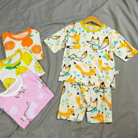 Wholesale fruit pieces for sale - Group buy INS Summer Kids Cotton Pajamas Set Short Sleeve T shirt Shorts piece Sets Fruit Animal Print Sleepwear Child Cartoon Night Clothes