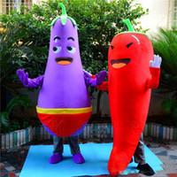 gemüse maskottchen kostüm großhandel-Factory Outlets EVA Material Chili Auberginen Maskottchen Kostüm Gemüse Cartoon Kleid Halloween Geburtstag Anzeige