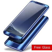 nota protector de pantalla espejo al por mayor-360 Protección de cuerpo completo Revestimiento de espejo Estuche electrochapado para Samsung S10 S9 S8 Plus Nota 9 8 S7edge cubierta dura con protector de pantalla Flim