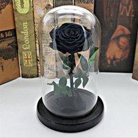 свежие розы сохранились оптовых-Черный Forever Rose Сохраненный Цветок Бессмертный Свежая Роза В Стеклянной Вазе Cloche Свадебные Украшения Уникальные Подарки Y19061103