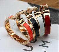 pulseiras de cloisonne pulseiras venda por atacado-Top Qualitu 316L Titanium Aço 12mm H Pulseiras de Ouro Rosa de Prata hardware de ouro Bangle Mulheres e Homens Famosa marca pulsera moda jóias