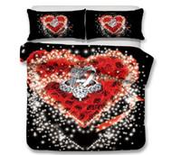 3d çiçek kral yatağı yorgan toptan satış-3D Çiçek Yatak Seti Gül Çiçek Romantik Nevresim Yastık Kılıfı ile Ikiz Tam Kraliçe Kral