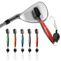 cepillo de alambre de nylon al por mayor-Mini cepillo de club de golf dual para herramientas Limpiador de cerdas de alambre de nylon con llavero Pinceles portátiles Kits multifunción de tirolina ZZA924