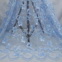 elbise çiçek polyester toptan satış-Gökyüzü mavi polyester örgü ipliği nakış boynuz çiçek yeni moda elbise aksesuarları dantel kumaş Çin Tedarikçisi