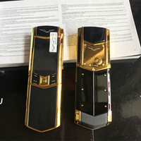 Wholesale video slider for sale - Group buy New Unlocked Luxury Gold Signature Slider dual sim card Mobile Phone stainless steel body MP3 bluetooth metal Ceramics back Cell phone