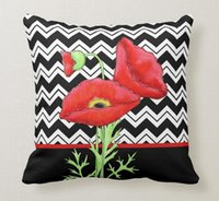 almofadas de chevron preto venda por atacado-Throw Pillow Caso Red Poppy Black White Zigzag Chevron decorativa Praça sofá e almofadas Cover,