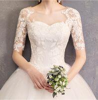 robe de mariage slim line dentelle achat en gros de-Robe de mariée fashion slim blanc une ligne dentelle appliques manches longues fait sur commande belle robe de mariage sexy de la mode