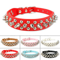 Wholesale leather dog collars spike resale online - SH New Spiked Studded Cool Rivets PU Leather Dog Pet Puppy Collars for Small Dogs K5454