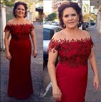 Wholesale mother bride dresses light champagne online - Dark Red Mermaid Mother Of The Bride Dresses Elegant Off Shoulder Appliqued Groom Mother Gowns Formal Plus Size