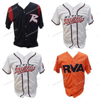 jérseis de basebol laranja preto venda por atacado-Mens Richmond Flying Squirrels branco preto laranja personalizado duplo costurado camisas de beisebol Jerseys de alta qualidade