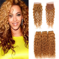 Wholesale honey brown hair weave online - Light Brown Blonde Wet and Wavy Virgin Hair Bundles with Lace Closure Honey Blonde Peruvian Human Hair Weaves and X4 Closure