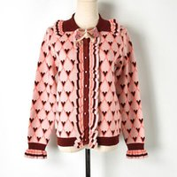 Vintage Cardigan Female Fall Winter Bow Heart Argyle Pattern Peter Pan  Collar Sweet Jumper Knit Sweater Women c93ffcb11