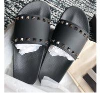 Wholesale flats spike stud resale online - Men Women Slippers with Box Luxury Designer Ladies Beach Slipper Tide Male Rivet Stud Slippers Non slip Leather Mens Casual Spikes Shoes