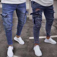 черные серые джинсы мужчины оптовых-2018 New Plus Size S-5XL Black Grey Stretch Slim Fit  Jeans Men Hi-Street Mens Distressed Denim Knee hole zipper  Jeans