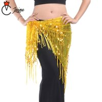 Wholesale crochet scarf tassels for sale - Group buy belly dancing scarf Colors Practice Clothes Accessories Stretchy Long Tassel Triangle Belt Hand Crochet Belly Dance Hip Scarf