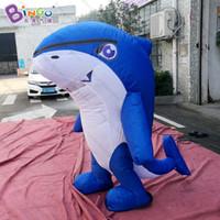 ücretsiz köpekbalığı oyuncakları toptan satış-Ücretsiz kargo 1.8 m boyunda şişme köpekbalığı kostüm, şişme yürüyüş köpekbalığı karikatür-oyuncaklar