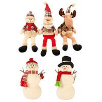 gefüllter plüsch schneemann großhandel-Weihnachtspuppe Dekorationen weichem Plüsch gefüllt Elch Weihnachtsmann Schneemann Figur Weihnachtsdekoration Ornament