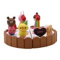 holzküche spielzeug-set großhandel-Geburtstagstorte Kinder Spielen Spielzeug Mini Küche Spielzeug Holzkuchen Spielzeug Set Klassische Kinder Spielen Spielzeug Für Mädchen Jungen