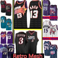 camisetas de allen iverson al por mayor-Steve Nash 13 Allen Iverson Jersey 3 NCAA retro Vince Carter 15 Subvención 33, Abdul Colina 34 Olajuwon malla borda jerseys del baloncesto