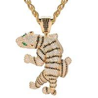 ювелирные ремесла оптовых-Zlxgirl  Jet enamel tiger shape animal pendant stainless steel jewelry Perfect men's cubic zircon hip hop clothing jewelry