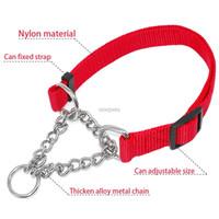 Wholesale solid color nylon dog collars resale online - 1 quot Wide Nylon Plain Color Dog Pet Choke Chain Training Collar Colors quot Adjustable westie