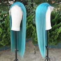 couleur cheveux bleus achat en gros de-Perruques de cheveux humains en dentelle de couleur bleue claire pour femmes avec des cheveux de bébé cheveux naturels déliés péruviens vierge 26 pouces