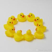 Wholesale children bath toys resale online - High Quality Baby Bath Duck Toys Sound Mini Yellow Rubber Duck Bathtub Duckling Toys Children Swimming Beach Gift