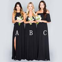 Wholesale dress pick up lines for sale - 2019 Black Bridesmaid Dresses Long robes de demoiselle d honneur Chiffon Floor Length vestidos Cocktail Maid Of Honor Wedding Guest Dress
