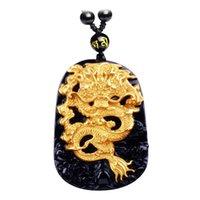 obsidien muska kolye toptan satış-Doğal obsidyen Doğal Siyah Obsidian Oyma Ejderha Şanslı Muska Kolye Kolye Kadın Erkek kolye