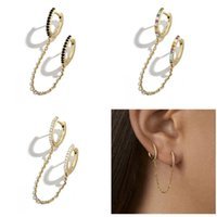 Wholesale stud chain link earrings for sale - Group buy 1 Pc Punk Gothic Handcuff Link Chain Crystal Stud Earrings Drop Rhinestone Ear Buckle Geometric Round Fashion Jewelry Women