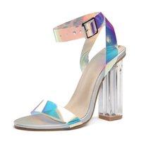 women s chunky heel dress shoes venda por atacado-sandálias mais novos das mulheres de Verão de sapatos 10 centímetros de super salto alto sensuais Cross Feminino PVE colorido sapatos de borracha venda quente único vestido superior TY-13